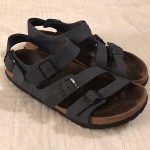 "BIRKENSTOCK ""Birkis"" Blue Leather Sandals 39"